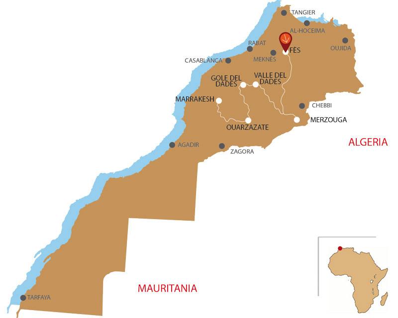 Mappa da Fes a Marrakech 4 giorni