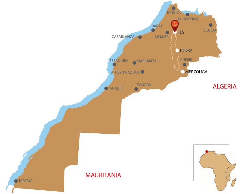 Mappa da Fes a Merzouga 3 giorni