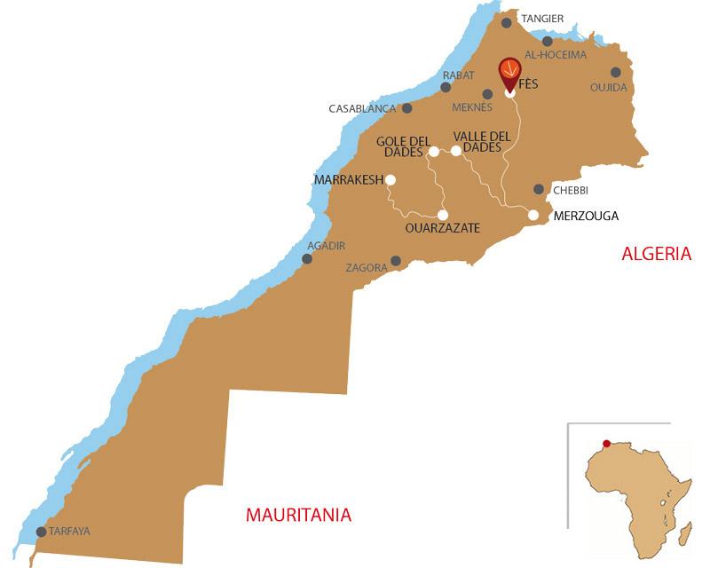 Mappa da Fes a Merzouga 5 giorni